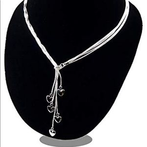 NEW 925 SS 5 LINED INFINITY HEART NECKLACE